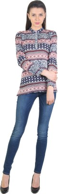 E Syrus Casual Full Sleeve Printed Women,s Brown Top