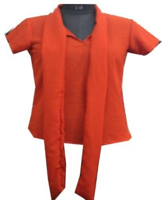 sap Casual Short Sleeve Self Design Girl's Orange Top