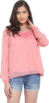 Ama Bella Casual Full Sleeve Solid Women's Pink Top