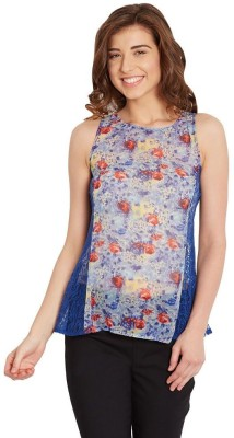 The Vanca Casual Sleeveless Printed Women's Blue Top at flipkart