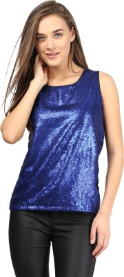 Miss Chase Party Sleeveless Solid Women's Blue Top at flipkart