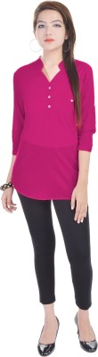 Fantasy Ika Casual 3/4 Sleeve Self Design Women's Pink Top