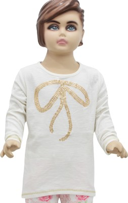 Urban Forest Casual Full Sleeve Embellished Girl,s White Top
