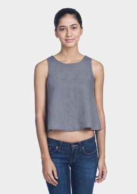 Bhane Casual Sleeveless Solid Women's Grey Top