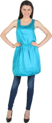 E Syrus Casual Sleeveless Solid Women,s Light Blue Top