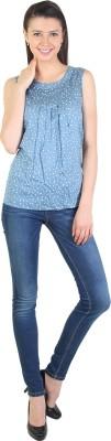 E Syrus Casual Sleeveless Printed Women,s Grey Top