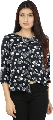 Eves Pret A Porter Casual 3/4 Sleeve Printed Women's Black, White Top