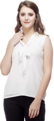 ORIANNE Casual Sleeveless Solid Women's White Top