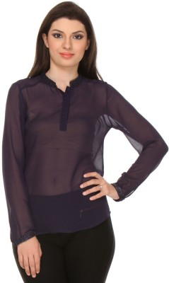 Oyshi Casual Full Sleeve Embellished Women's Purple Top