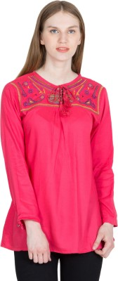 KAAF FASHION Casual, Party, Formal Full Sleeve Embroidered Women's Multicolor Top