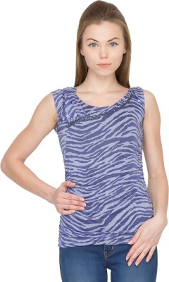 Species Casual Sleeveless Striped Women's Blue Top