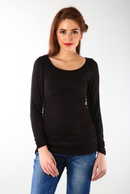 Momzjoy Casual Full Sleeve Solid Women's Black Top