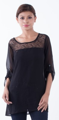 Ada Creations Casual 3/4 Sleeve Solid Women's Black Top