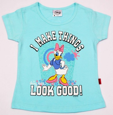 Disney Casual Short Sleeve Graphic Print Girl's Blue Top