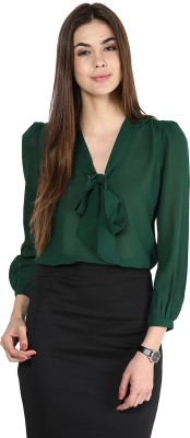La Zoire Formal, Casual, Party Full Sleeve Solid Women's Dark Green Top