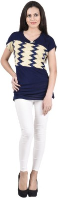 NumBrave Casual, Formal, Party Short Sleeve Solid Women's Blue Top