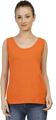 Threadz Casual Sleeveless Solid Women,s Orange Top