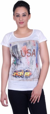 Sellsy Casual Short Sleeve Graphic Print Women's White Top