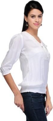 Shree Krishna Enterprise Party Sleeveless Solid Girl's White Top