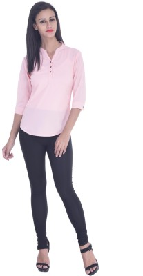 Zupe Casual 3/4 Sleeve Solid Women's Pink Top