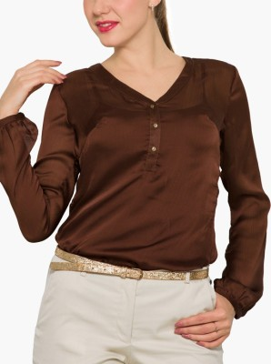 Park Avenue Formal Full Sleeve Solid Women's Brown Top