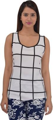 ZAYN M, Casual Sleeveless Checkered Women's White Top