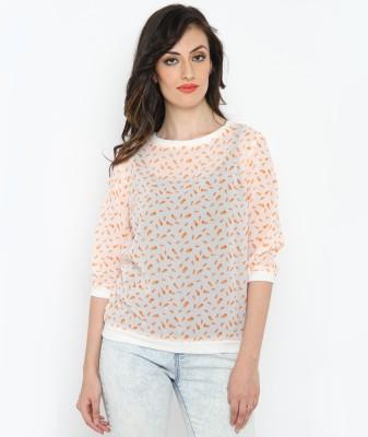 Philigree Casual 3/4 Sleeve Printed Women,s White, Orange Top