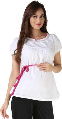 Morph Maternity Casual Short Sleeve Solid Women's White Top