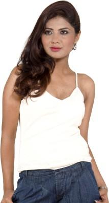 Fizzaro Casual Sleeveless Solid Women's Beige Top