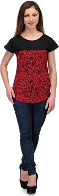 Rockland Life Casual Short Sleeve Printed Women's Black, Red Top
