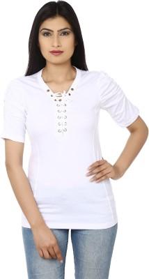 Adhaans Casual Short Sleeve Solid Women's White Top