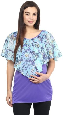 Mine4Nine Casual Sleeveless Floral Print Women's Blue Top