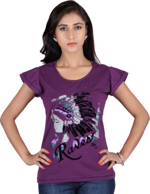 Raves Casual, Sports, Party Short Sleeve Printed Women's Purple Top