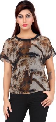 Liwa Casual Short Sleeve Printed Women's Brown Top