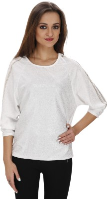 Svt Ada Collections Party 3/4 Sleeve Solid Women's White Top