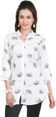 Big Tree Casual 3/4 Sleeve Printed Women's White Top