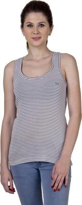 Jprana Sports Sleeveless Striped Women's Brown Top