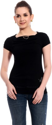 Rose Taylor Casual Short Sleeve Solid Women's Black Top