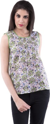 Aarr Casual Sleeveless Floral Print Women's Multicolor Top