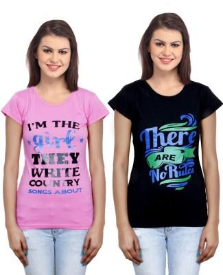 IndiWeaves Casual Short Sleeve Printed Girl's Pink, Black Top