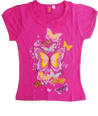 Sweet Angel Casual Short Sleeve Self Design Girl's Pink Top