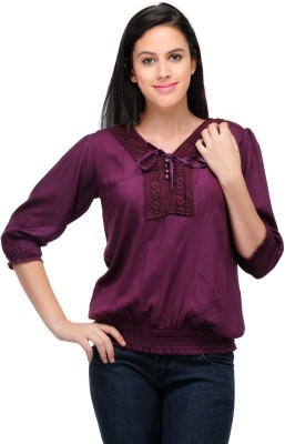 Henry Club Casual Balloon Sleeve Solid Women's Purple Top