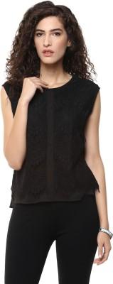 BLUE ISLE Casual Sleeveless Self Design Women's Black Top
