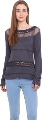 Porsorte Casual Full Sleeve Solid Women's Grey Top