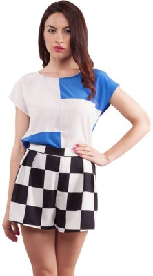 Purple Ginger Casual Short Sleeve Checkered Women's White, Blue Top