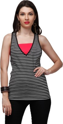 Eavan Casual Sleeveless Striped Women Black Top at flipkart