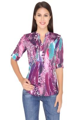 Girl Next Door Casual Roll-up Sleeve Printed Women's Purple Top