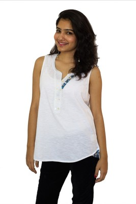 The Clove Casual Sleeveless Solid Women's White Top