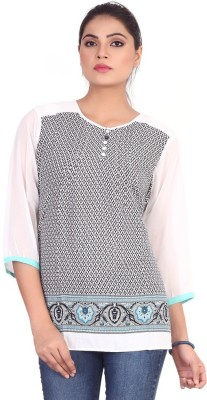 Pink Nine Casual 3/4 Sleeve Graphic Print Women's White, Black Top