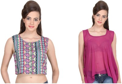 Western Route Casual Sleeveless Printed Women's Multicolor Top